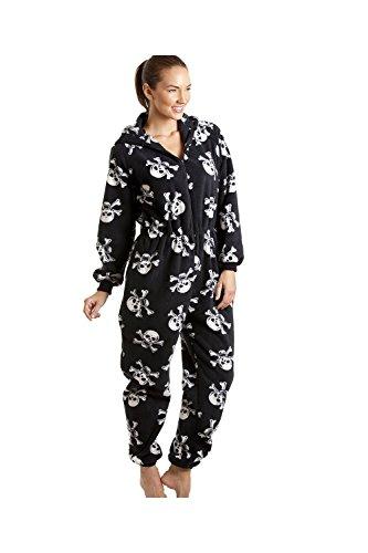 Damen Schlafanzug-Einteiler aus Fleece - Totenkopf-Print Schwarz und Weiß - Größen 38-52 XXXXXL