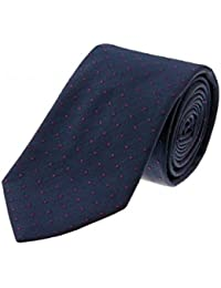 LE BON MONSIEUR - cravate bleu marine à pois homme en soie fabriquée en Italie