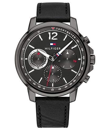 Tommy Hilfiger Herren Multi Zifferblatt Quarz Uhr mit Leder Armband 1791533