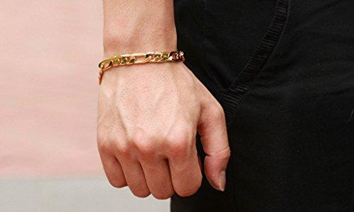Imagen de anazoz joyería de moda pulsera de hombre pulsera brazalete link para hombre 18k chapado en oro compromiso de boda personalidad simple color oro alternativa