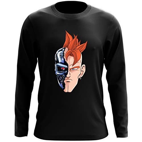 Okiwoki T-Shirt à Manches Longues Noir Dragon Ball Z - Terminator parodique C16 X Terminator : T-16 (Parodie Dragon Ball Z - Terminator)