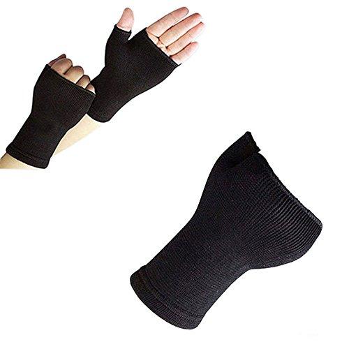 KaariFirefly, 1 paio di guanti elasticizzati per palmo della mano, unisex, guanti sportivi, tutore, supporto per artrite a mani e polsi, Nero , Taglia unica