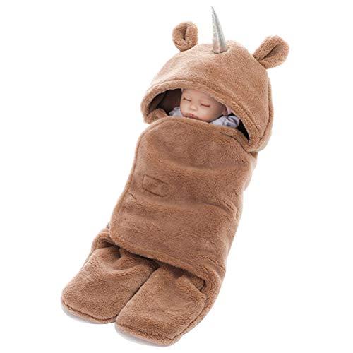 Coperta universale per ovetto, Unicorno passeggino o lettino, unisex bambino disegno pigiama tuta da ragazzo cotone ragazza pigiami pigiama per Primavera & Inverno scelta (Marrone, 25.6' x 29.5')