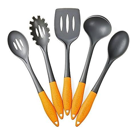 Deiss Art 5pièces Ustensiles de Cuisine en nylon–Louche, spatule ajourée, cuillère à spaghetti, cuillère à servir, à fente Cuillère de service–Soft Poignée ergonomique–sans danger pour cuisine antiadhésive