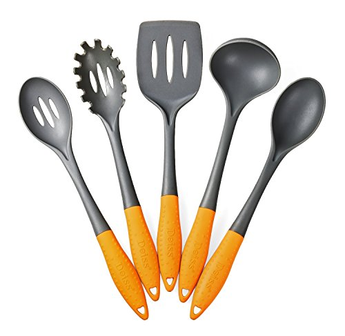 Deiss® ART 5-piece Nylon Utensil Set — Soup Ladle, Slotted Turner, Spaghetti Server, Serving Spoon, Slotted Serving Spoon — Safe for Non-stick Cookware