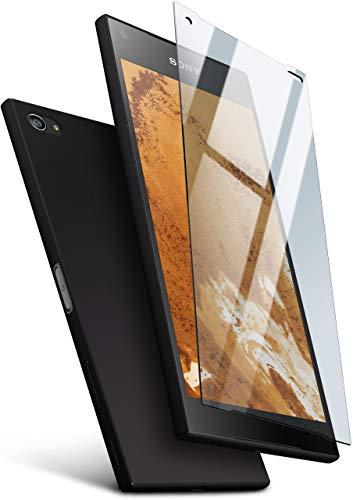 moex 360 Grad Rundum-Schutz [Case + Panzerglas] für Sony Xperia Z5 Compact | Extrem dünne Handyhülle in Schwarz inkl. kristallklare Schutzfolie aus Hartglas