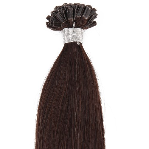 Beauty7 100 Extension de Cheveux Naturel Pose a Chaud 0.5g/mèche Nail Tip Longuer 46CM Chocolat foncé #2 Total 50g