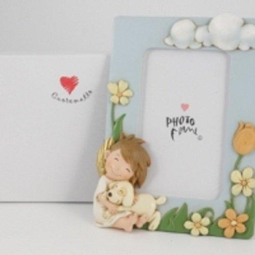 Cuorematto bomboniere solidali 2016 cornice portafoto angelo maschio elvis 10x15 comunione cresima nascita