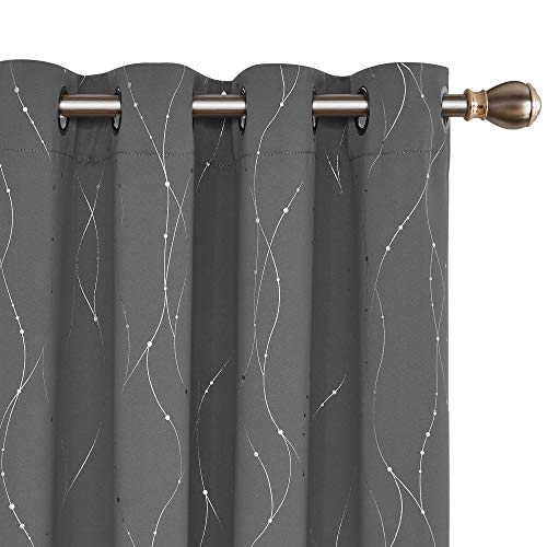 Deconovo Blickdicht Gardinen Ösen Vorhang Muster Verdunkelungsvorhang Kinderzimmer 229x117 cm Hellgrau 2er Set