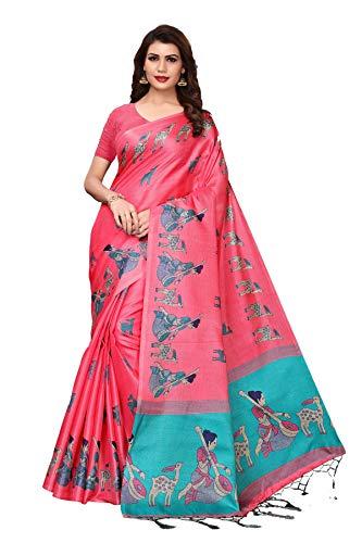 Yashika women\'s art silk kalamkari and bhagalpuri style saree with blouse piece Pink-MAITHALI PINK