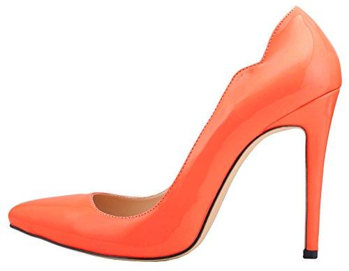 HooH Femmes Bonbons Couleur Stiletto Mariage Pumps Orange