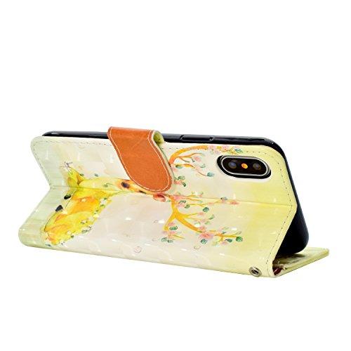 Housse Etui Coque en Cuir Portefeuille pour iPhone X,SKYXD 3D Premium Leather TPU Strips Wallet Flip Cover Pouch pour iPhone X avec Poignet Sangle,Dream Catcher Yellow Sika Deer