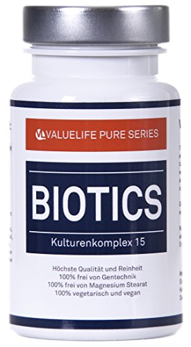 Probiotika Kapseln Biotics Kulturen I 15 aktive probiotische Bakterienkulturen I Bifidobakterium & Lactobacillus I Pro Darmflora & Verdauung I 2-Monatspackung