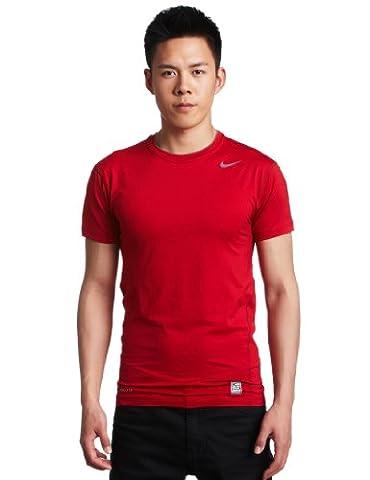 Nike Pro Combat Core Compression Maillot de compression à manches courtes Taille XXL Rouge/gris