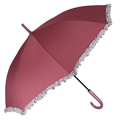 Paraguas Automatico Mujer - Paraguas Clásico con volantes grises con lunares blancos - Resistente y Antiviento - 102 cm de diámetro - Perletti Time - Rojo