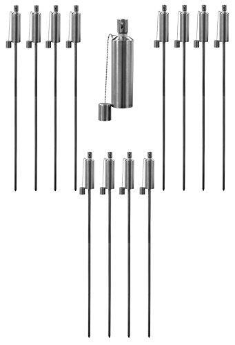Torche pour le jardin - huile/paraffine - 1460 mm/forme arrondie - lot de 12
