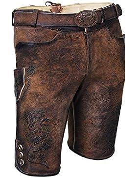 MADDOX Kurze Herren Ziege-Lederhose, echtes Leder, Trachtenlederhose mit Gürtel, braun, alle Größen