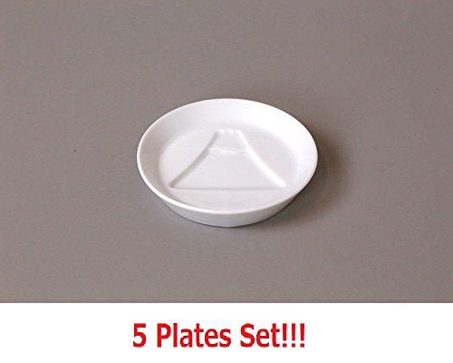 Yamako 5 Jeu de Plaques en Porcelaine Blanche de la Sauce de Soja Plat Fujiyama Made in Japan 26230