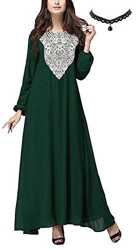 M-Queen Donna Islamico Robes Manica Lunga Musulmano Abito Abaya Stampa Maxi Vestito da Matrimonio Banchetto Sera