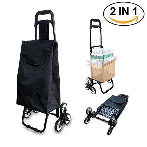 Einkaufswagen | Faltbarer Einkaufstrolley mit Räder Dreirad | Einkaufswagen Treppensteiger mit Größerer Speicherplatz | Schwarze Farbe