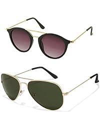 Aventus Stylish Sunglasses Combo-Black Round Sunglasses & Green Aviator Sunglasses For Men Women