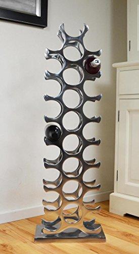 Michael Noll Weinregal Flaschenregal Regal Flasche Aluminium Silber Luxus 101,5 cm XXL