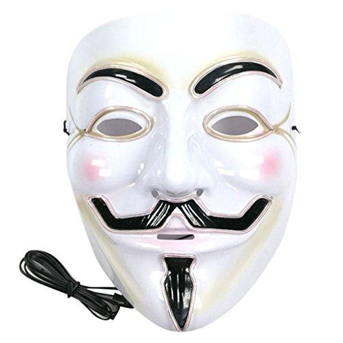 Kofun Party Gesichtsmaske Halloween Geist Leuchten Leuchtende LED EL Draht Cosplay Vollgesichtsmaske Party Decor Weiß