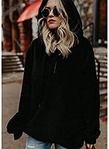 ORANDESIGNE Damen Herbst Winter Kapuzenpullover Hoodie Pullover Teddy-Fleece Mantel Langarmshirt Sweatshirt Mit Kapuze