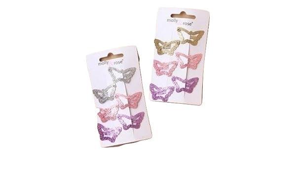 Ladies Girls 6 Pack 3cm Glitter Butterfly Hair Clips Grips Brand New