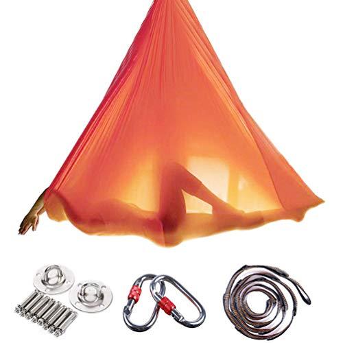 Brinny Yoga DIY Silk Pilates Premium Aerial Silks Equipment Aerial Yoga Tuch Aerial Silk elastische Yoga Hängematte mit Stoff Zubehör 5 Meter (Orange)