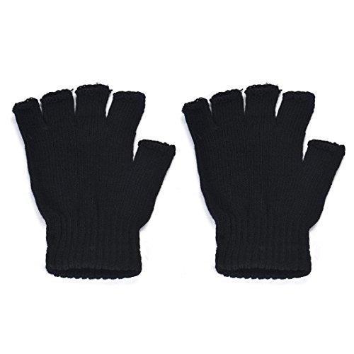 Preisvergleich Produktbild WINWINTOM Herren Schwarz Knit Stretch Elastic Warm-halbe Finger-Handschuh ohne Finger