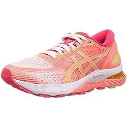 ASICS Gel-Nimbus 21, Chaussures de Running Femme, Blanc (White/Sun Coral 100), 41.5 EU