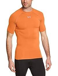 Under Armour UA HG Armour SS, Camiseta de Manga Corta Para Hombre, Naranja (Afterburn), M (Talla de fabricante MD)