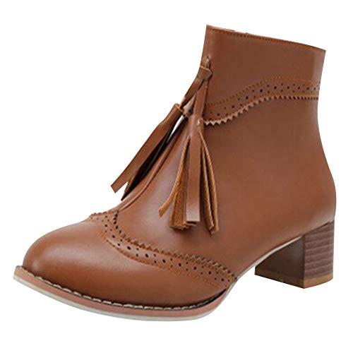 Levifun Stiefel Damen Vintage Stiefeletten Damenstiefel Reißverschluss Flach Stiefeletten Fransenstiefel Frauen Herbst und Winter Stiefeletten Elegante Ankle Boot Klassische Chelsea Boots