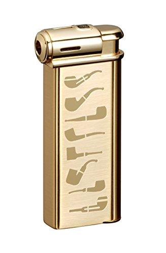 Sarome Elektronischer Piezo Pfeifenfeuerzeug psp-14Gold Super Satin mit Pfeife Designs