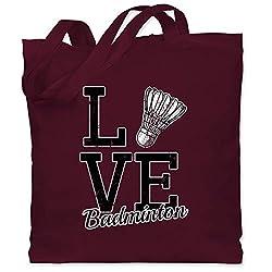 Sonstige Sportarten - Love Badminton - Unisize - Bordeauxrot - WM101 - Stoffbeutel aus Baumwolle Jutebeutel lange Henkel