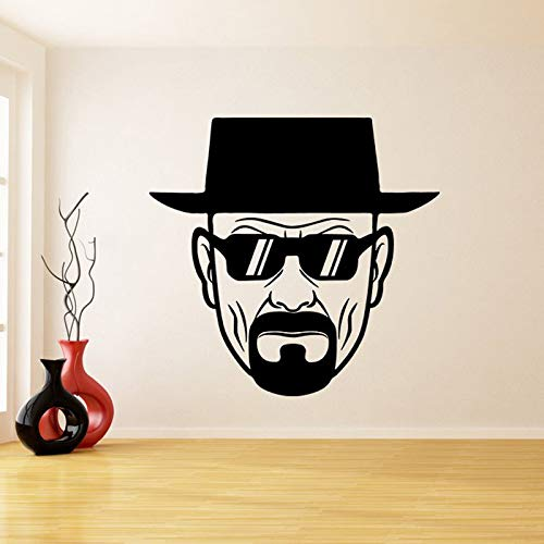 Dongwall Vinyl Wandtattoo Breaking Bad Heisenberg mit Sonnenbrille Dekor Aufkleber Ernst Walter Weiß Wandbild Schlafzimmer Dekoration 57 * 59 cm