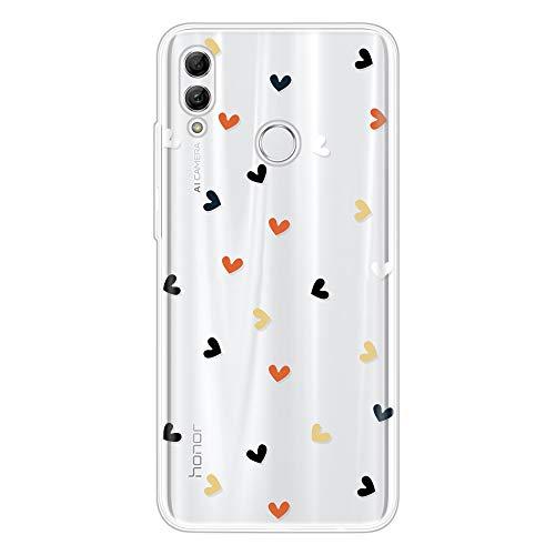 Miagon Klar Hülle für Huawei Honor 10 Lite,Kreativ Silikon Case Ultra Schlank Transparente Weich Handyhülle Anti-Kratzer Stoßfest Schutzhülle,Bunt Herz