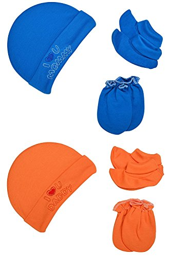 "Baby Bucket ""I LOVE MUMMY & I LOVE DADDY"" Premium Quality Light Weight Regular Fit Hosiery Material Stretchable Baby Cap Set (Blue & D orange)"