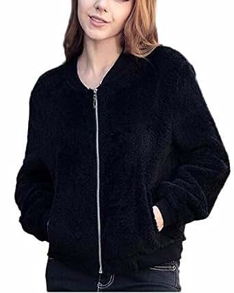 Auxo Femmes Filles Chaud Pulls à Manches Longues Sweats Court Manteau Fourrures Veste Zipper Cardigan Noir FR 38/EtiquetteTaille M