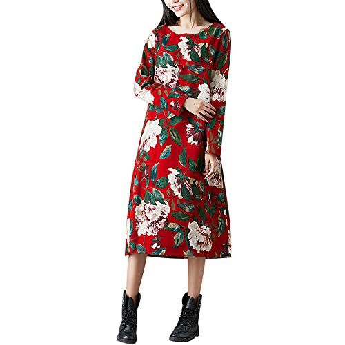 (2018JYJM Abendkleider lang Strickkleider Mode Frauen Plus Size Folk-Custom Lose Floral Bedruckte Baumwolle Und Leinen Kleid Damen Kleid Vmvigga Flair Capsleeve Spitzen Rockabilly Festlich)