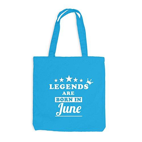 Jutebeutel - Legends are born in June - Birthday Gift Surfblau
