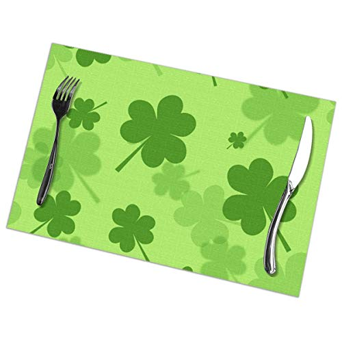 Dimension Art St Patricks Shamrock Placemats Set of 4 for Dining Table Washable Polyester Placemat Non-Slip Wear and Heat Resistant Kitchen Table Mats Easy to Clean (Supplies Shamrock-party)