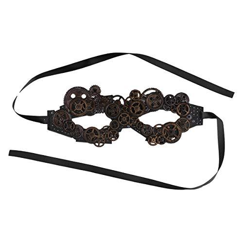 Agoky Steampunk Augenmaske mit Zahnräder Cosplay Kostüm Victorian Verkleidung Party Festzug Outfits Coffee One ()