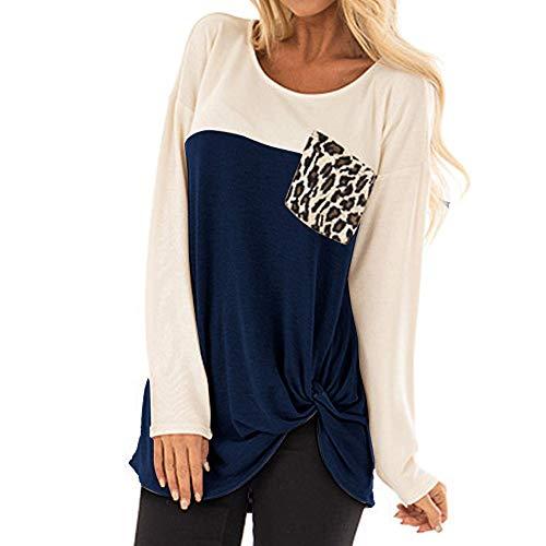 Whisky Damen Bottoming Shirt Leopard Tasche Dekoration T-Shirt Oansatz Langarm T-stück geknöpft Bluse Lässig Elegante Frauen Tops (S, Blau)