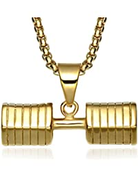 Jewelrysays Hip Hop - Collar de Acero Inoxidable con Colgante de Mancuernas