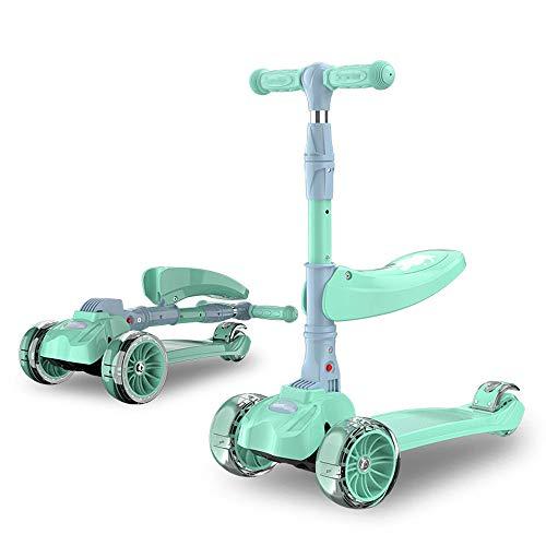 3 In 1 Roller/Kinder 4 Wheel Kick Roller/Mit abnehmbarem Sitz/Perfekt für Mädchen & Jungen ab 2 Jahren/Verstellbarer Griff/LED Light Up Wheels für Kinder,Green (Sitze Komfort Bike Für Männer)
