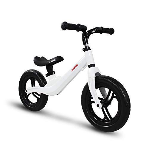 COEWSKE 12 'Balance Bike Magnesium Alloy No Pedal Walking Balance Entrenamiento Bicicleta para niños y niños de 2 a 5 años (Blanco)
