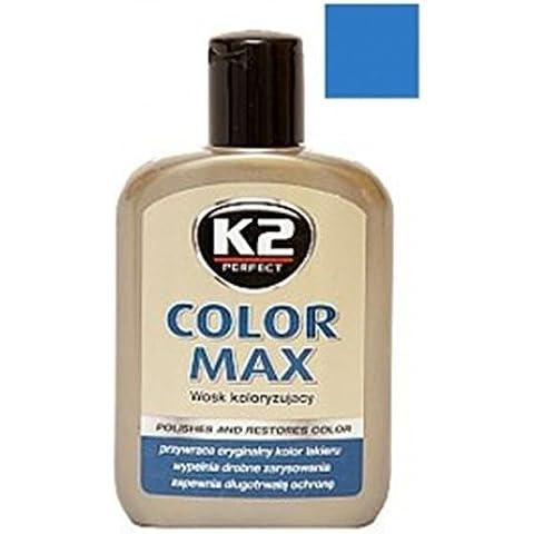 K2 Max, colorati con cera di carnauba, rigenera auto car shine, 200 ml, colore: blu