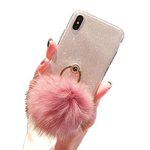 Misstars Flauschige Ball Hülle für Samsung Galaxy A7 2018 A750, Ultra Dünn Transparent Weiche TPU Silikon + Glitzer Weiß Papier Hybrid 2 in 1 Design Bling Schutzhülle mit Ring Ständer Crystal Pom Poms